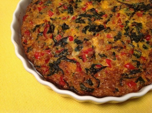 Beet green and red pepper frittata from On Top of Spaghetti