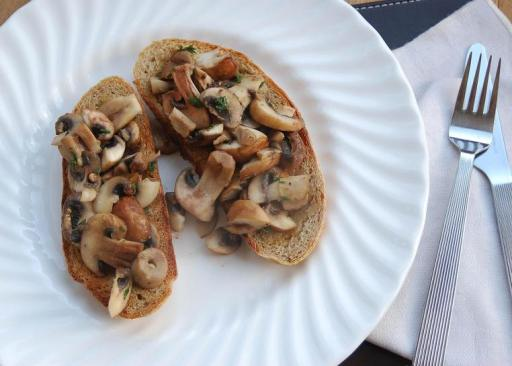 Mushrooms on rye toast from The Garden Deli