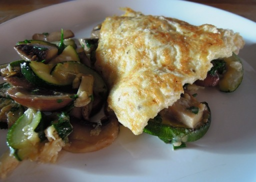 Courgette and mushroom omelette with garlic and parsley from Bangers & Mash