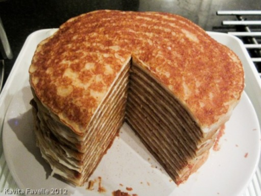 Speculoos and mascarpone pancake cake from Kavey Eats