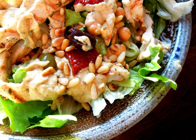 Middle eastern chicken salad with hummus dressing bangers mash we get through a lot of hummus in our house whether its the supermarket variety or the incredibly garlicky and insanely zingy homemade kind forumfinder Choice Image