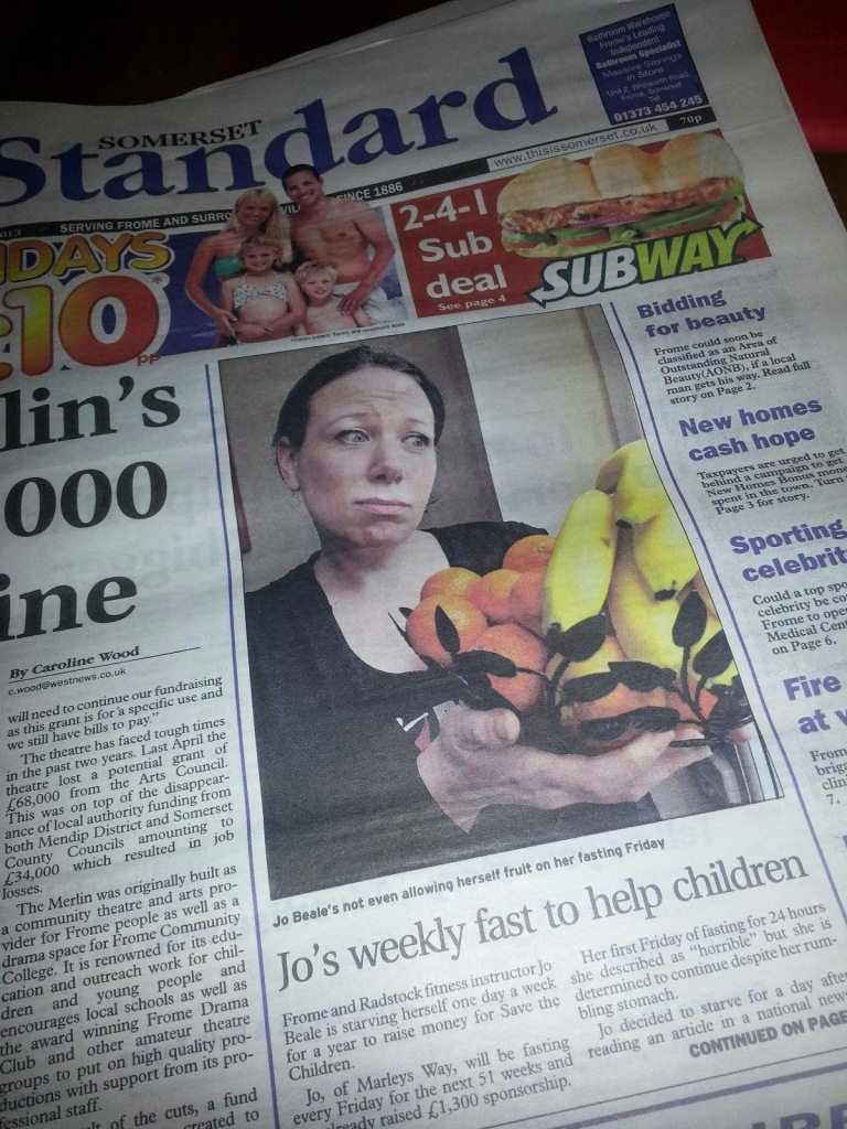 Jo's made the front page of our local paper in Frome
