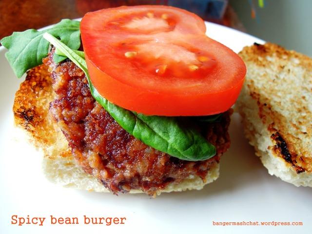 Spicy bean burger