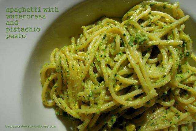 spaghetti with watercress and pistachio pesto