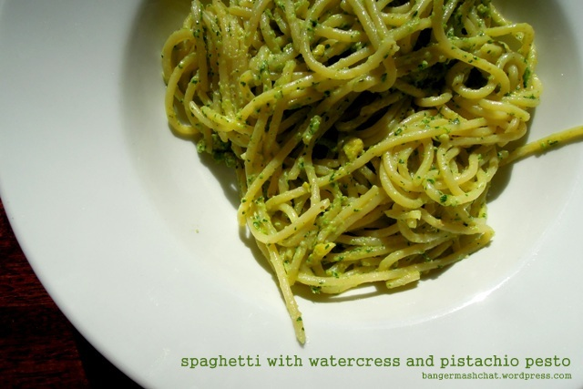 spaghetti with watercress and pistachio pesto