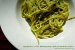 Spaghettie with watercress and pistachio pesto