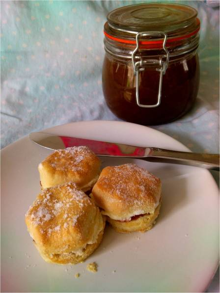 rhubarb jam with scones