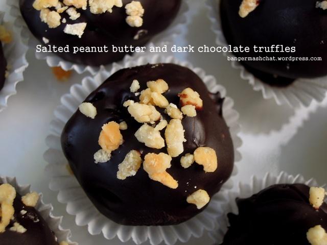 salted peanut butter truffles
