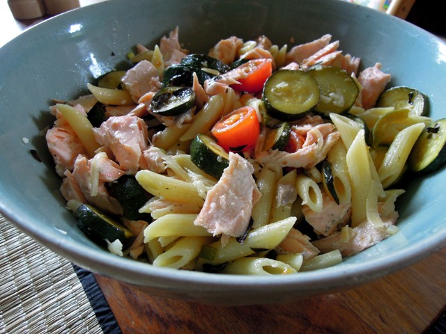 warm pasta and salmon salad
