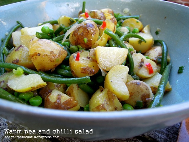 warm pea and chilli salad