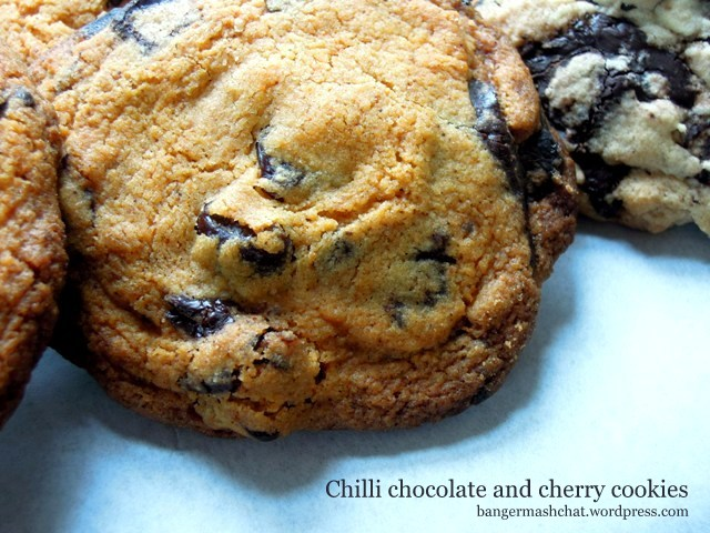 chilli chocolate and cherry cookies