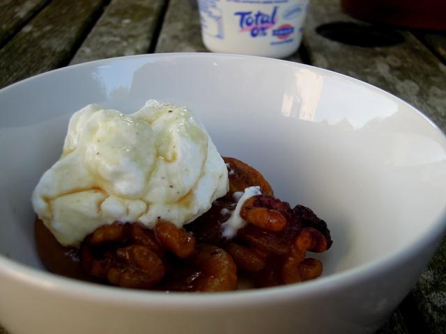 Fig and walnut bake served with Greek yoghurt