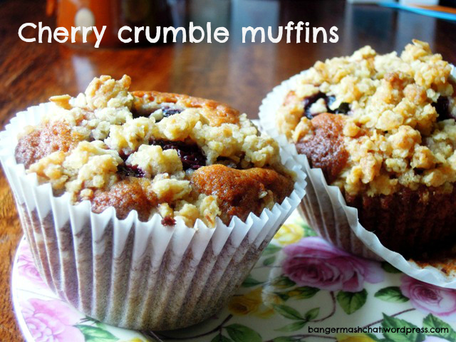 Cherry Crumble Muffins from Bangers & Mash