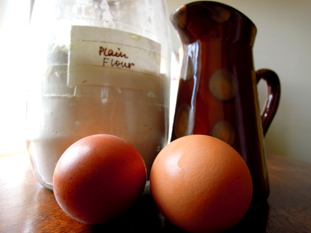 eggs flour milk