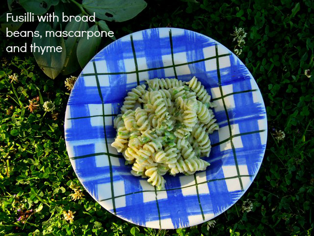 fusilli with broad beans