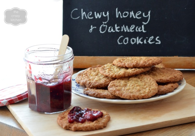 Chewy Honey & Oatmeal Cookies with Summer Berry Jam from The Crazy Kitchen