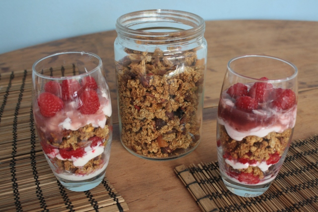 Honey Nut Granola and Raspberry Yogurt Parfaits from Whatever Gets You Through The Day