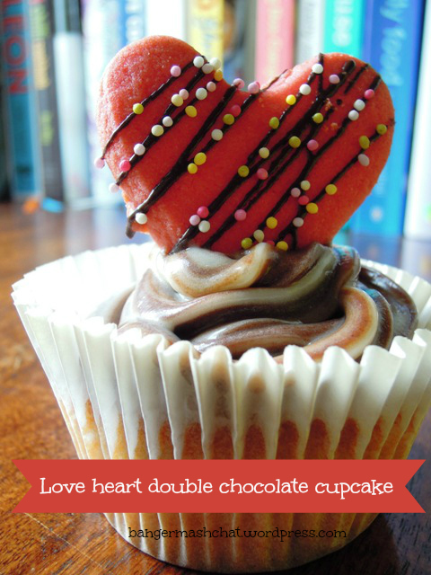 Love heart double chocolate cupcake