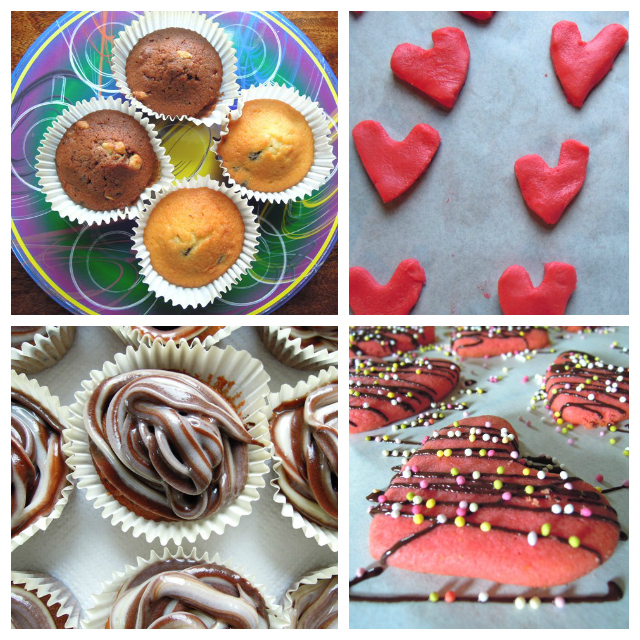 Love heart cupcakes collage