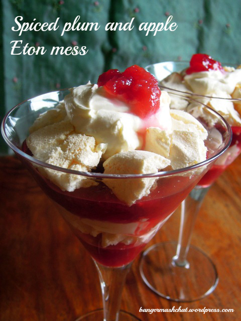 spiced plum and apple eton mess