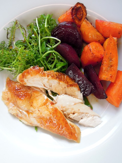 lemon roast chicken carrot beetroot sweet potato