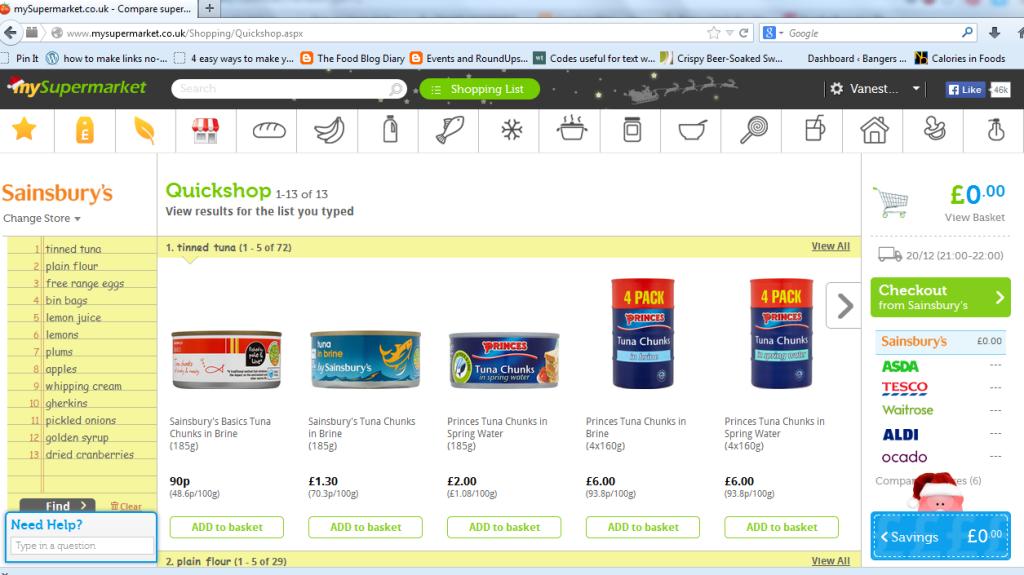 screenshot shopping list