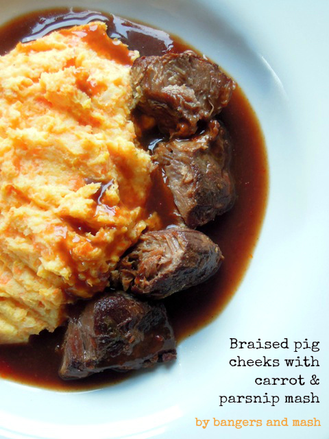 braised pig cheeks with carrot and parsnip mash