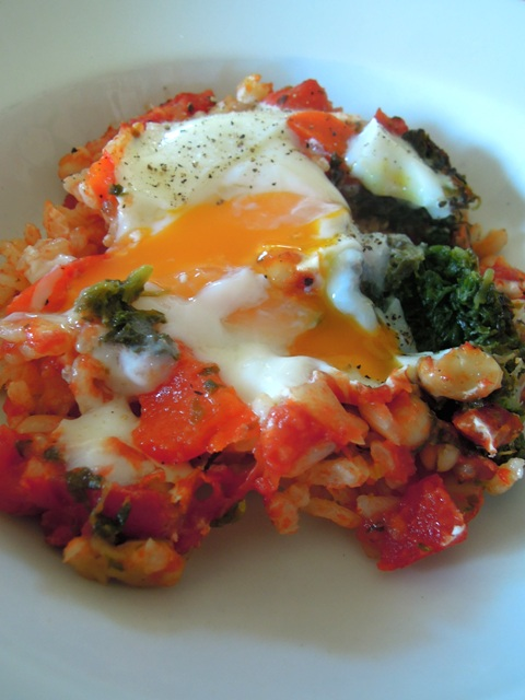 baked rice with eggs