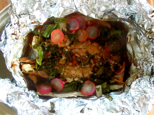 sea bass in foil