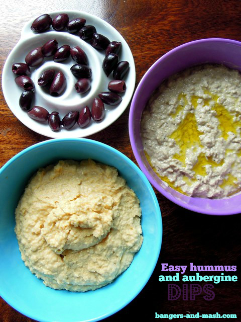aubergine and hummus dips