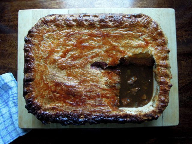 beef and guinness pie with vanilla and thyme