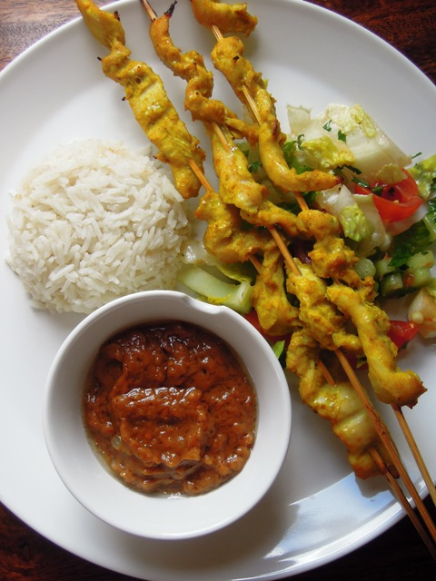 "thoughts on "" Chicken satay with peanut sauce and coconut rice """
