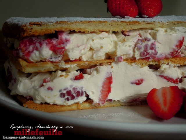 raspberry, strawberry, rose millefeuille