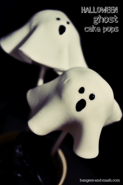 Halloween ghost cake pops text