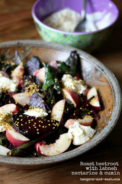 roast beetroot with labneh nectarine and cumin text