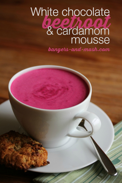 White chocolate, beetroot and cardamom mousse | Bangers & Mash