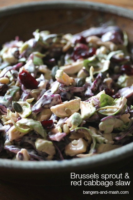 brussels sprout and red cabbage slaw text