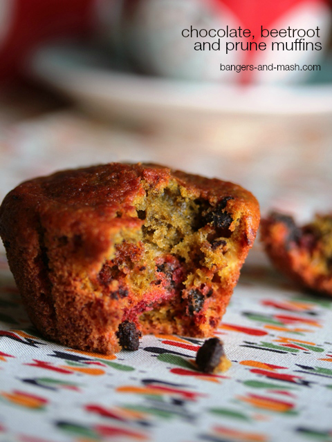 chocolate beetroot and prune muffin text
