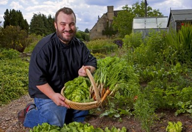 Chef Matthew in the kitchen garden