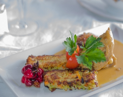 9. Brussels Sprout & Root Vegetable Bubble & Squeak with Braised Chicken