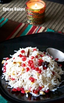 15. Pomegranate & Pine Nut Pilaf with Cauliflower Pineapple Curry