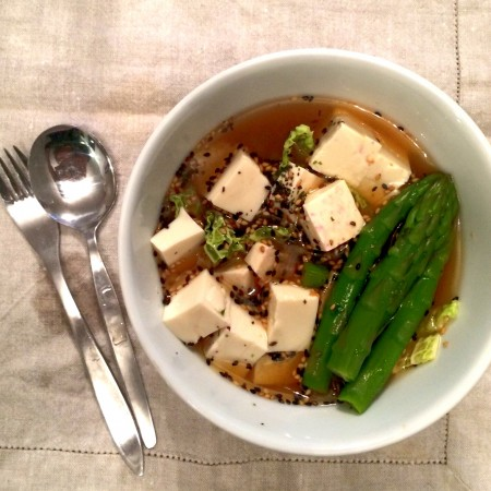 8. Miso Soup with Tofu, Asparagus, Cabbage & Furikake Seasoning