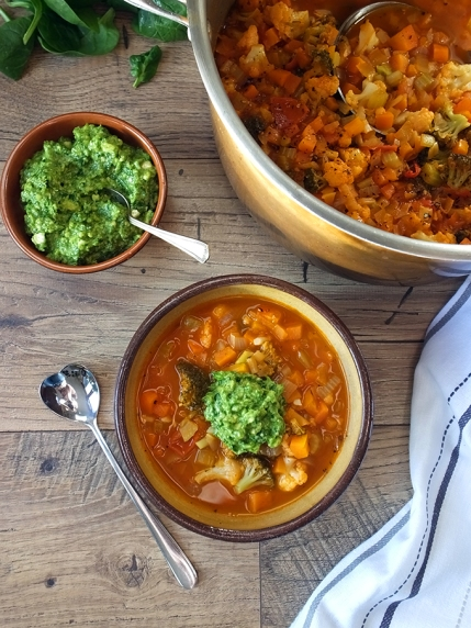 5. Chunky Vegetable Soup with Spinach-Cashew Pesto