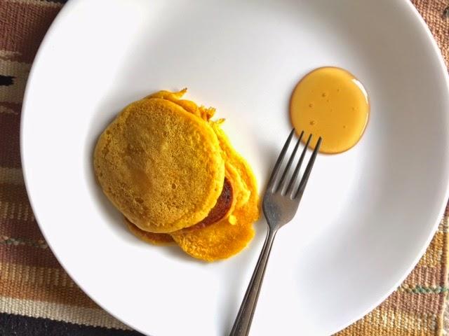 orange pancakes with turmeric