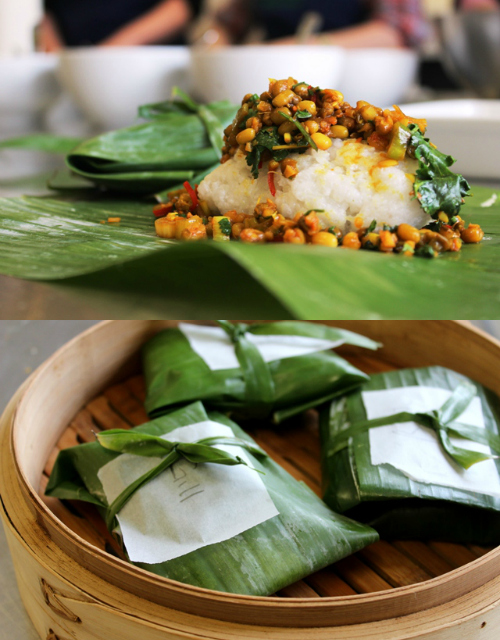 sticky rice and mung bean banana leaf parcels collage