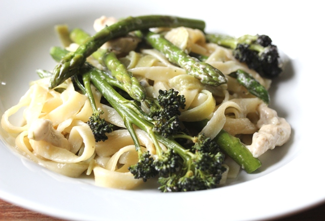 tagliatelle with chicken asparagus and purple sprouting brocolli 3
