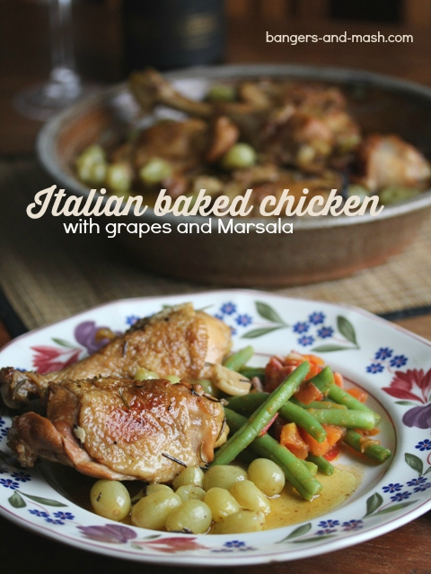 Italian baked chicken with grapes and marsala text