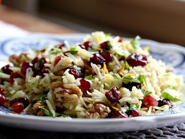 Jewelled Persian rice with pomegranates, walnuts & parsley ... Persian Pomegranate Rice