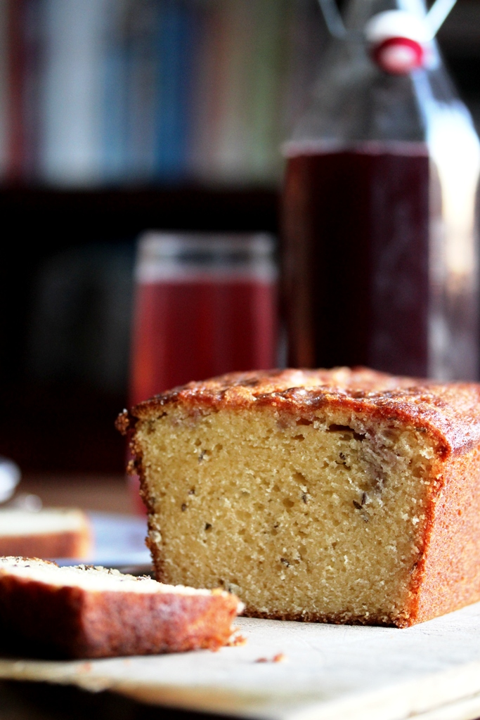 sloe syrup drizzle cake with caraway seeds