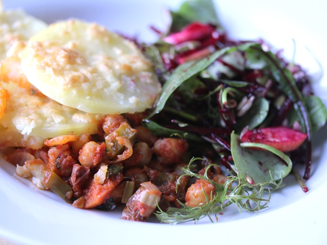 spanish chickpea and potato bake with beetroot and apple salad